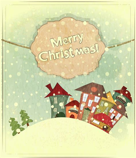 set  vintage merry christmas cards vector graphics  vector  encapsulated postscript eps