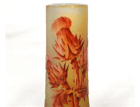 vase p 226 te de verre daum nancy chardons feuilles