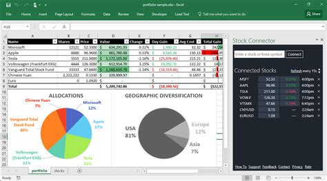 Stock Connector Add In For Excel Stock Portfolio Excel Template