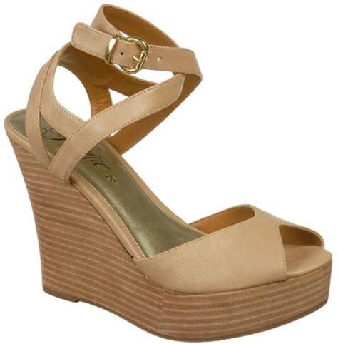 fergie queenie wedge sandals in beige blush lyst