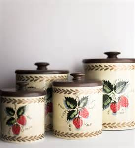 Vintage Canisters For Kitchen vintage kitchen canisters set metal ransburg strawberry 1970s