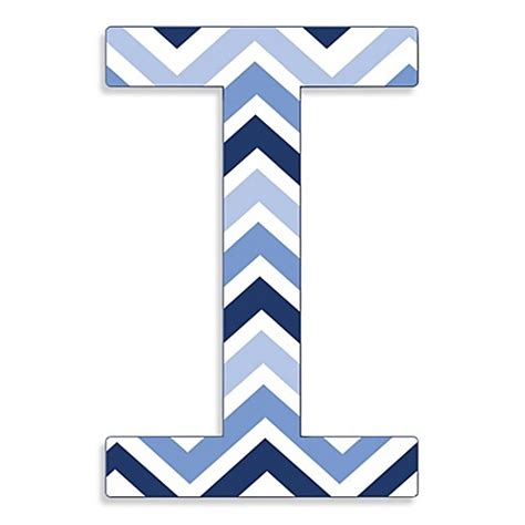 Eclectic Decoration Stupell Industries Tri Blue Chevron 18 Inch Hanging Letter