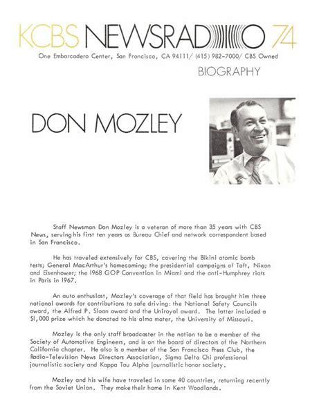 biography elements don mozley kcbs newsradio 74 1978 bio sheet