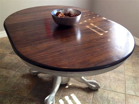black stained walnut wood pedestal for round glass top antique claw foot pedestal table refinished in white paint