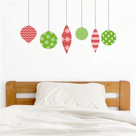 christmas ornaments style two printed wall decal