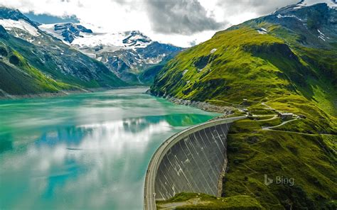 bing wallpapers as desktop background mountain lake mooserboden reservoir and mooser dam near kaprun austria