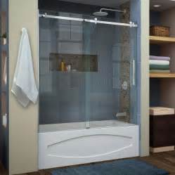 bathtub shower doors frameless shop dreamline enigma air 60 in w x 62 in h frameless