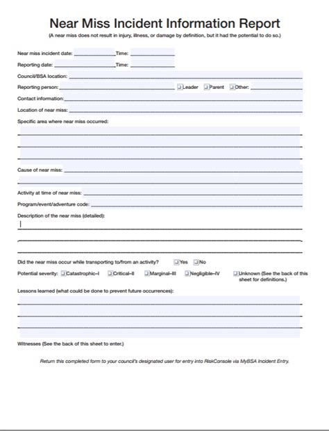 sle near miss report 6 near miss reporting form exles you ll want to copy