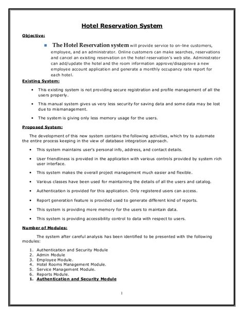 hotel management or reservation system document