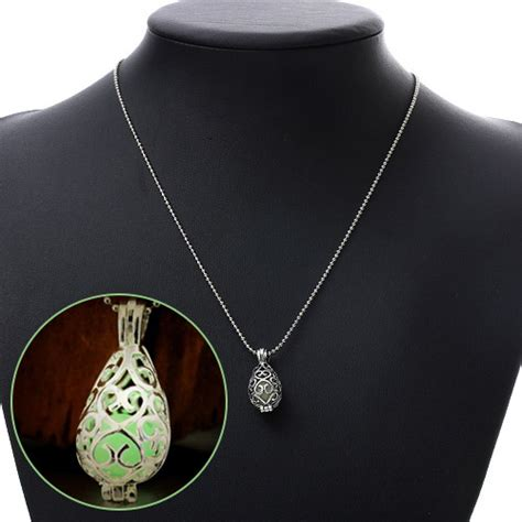 Set Kalung Anting Hollow Out Water Drop Pattern Design personality green hollow out waterdrop shape pendant decorated noctilcent design alloy chains