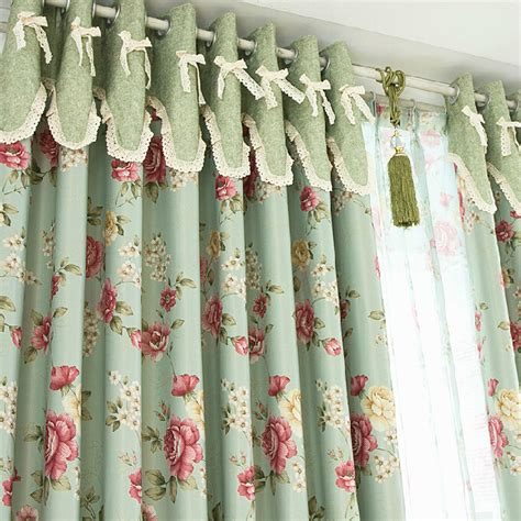 romantic floral green blackout shabby chic curtains