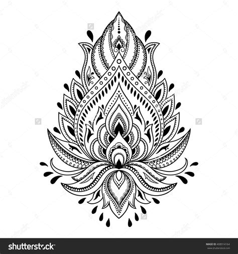 lotus henna tattoo henna flower template in indian style ethnic