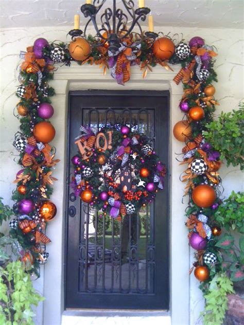 colorful halloween front door ideas