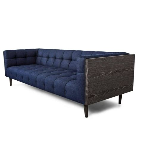 Denim Tufted Sofa Mid Century Sofa With Wood Frame And Tufted Navy
