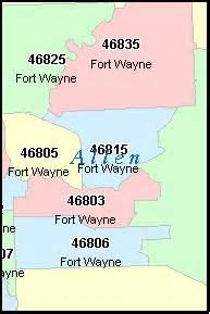 allen county indiana digital zip code map