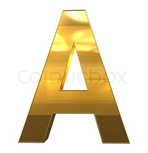 3d Design Your Home by Letter A From Gold With Gold Frame Alphabet Set Isolated