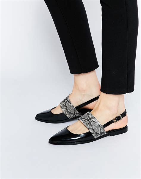 motion shoes for flat asos motion pointed flat shoes in black lyst