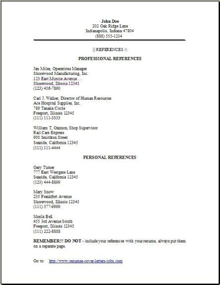 resume reference page sample resume and cover letter resume and
