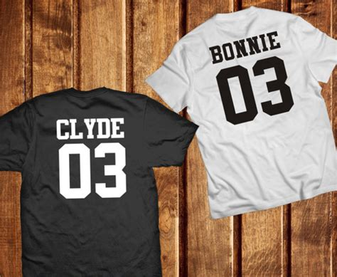 Matching Jersey Shirts T Shirt Trend2tees Clyde Bonnie And Clyde