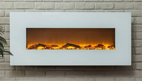 contemporary ivory 50 inch wall mounted electric fireplace