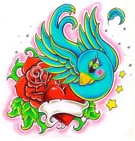 cartoon rose tattoo amazing colorful bird with and