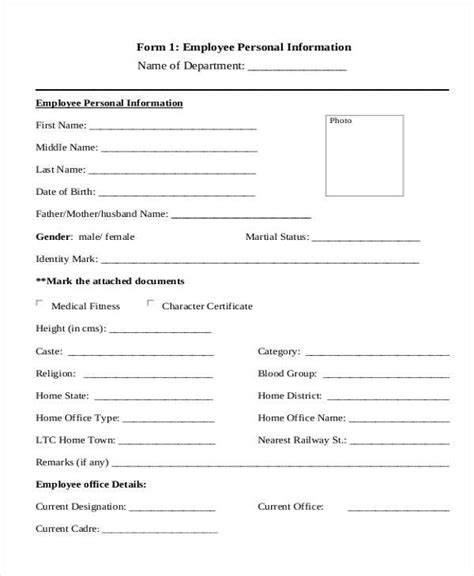 personal forms templates employee details form sle employee reimbursement form