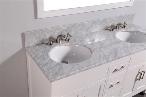 White Vanity Marble Top Legion 60 Inch Contemporary Bathroom Vanity Carrara White Marble Top White Finish
