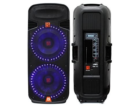 Layar Speaker Portable Led 15inch Toatech Audio Profesional Japan mr dj pbx6100led dual 15 inch 3 way portable speaker with