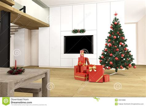 Living Room Presents Living Room With Tree Royalty Free Stock Image
