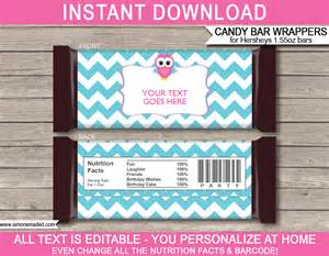 bar wrapper templates owl hershey bar wrappers personalized bars