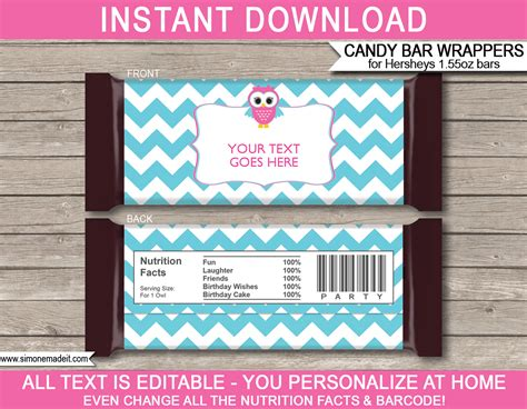 Owl Hershey Candy Bar Wrappers Personalized Candy Bars Pink Aqua Wrapper Labels Templates