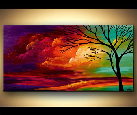 acrylic paint modern landscape tree painting original abstract contemporary modern