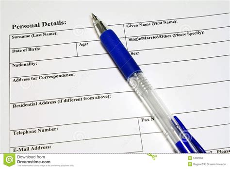 application and personal details form stock photo image
