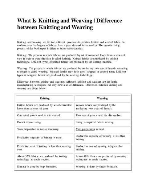 weaving and knitting difference bdft ii tmt unit ii comparison between weaving knitting
