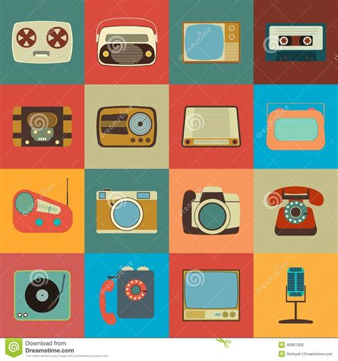 how to make a retro icon style using the appearance panel retro style media icons eps 10 stock illustration image