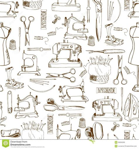 svg sewing pattern seamless pattern sewing tools stock vector image 39350269