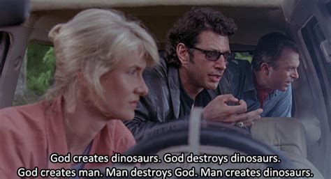 god creates dinosaurs ian malcolm books jurassic park review dr ellie sattler runnerbirds