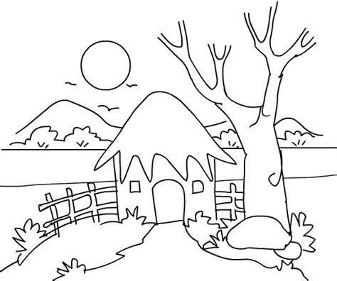 free coloring pages of scenery drawings