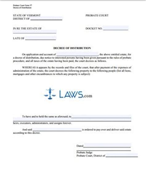 bankruptcy code section 502 decree of distribution vermont forms laws com