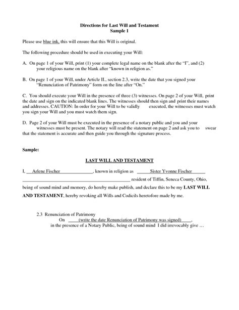 last will and testament template 4 best agenda
