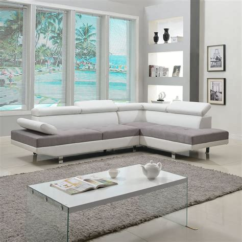 livingroom sectional 2 piece modern contemporary white faux leather sectional