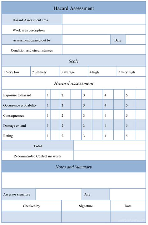 hazard assessment template sle hazard assessment form sle forms