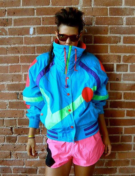 vintage 80s neon new wave ski jacket 80s ski wear