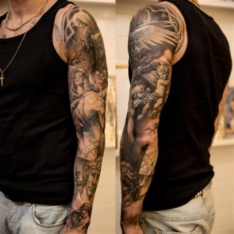 angel sleeve tattoo by wicked tattoo