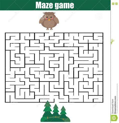 printable owl maze maze game animals theme stock vector illustration of