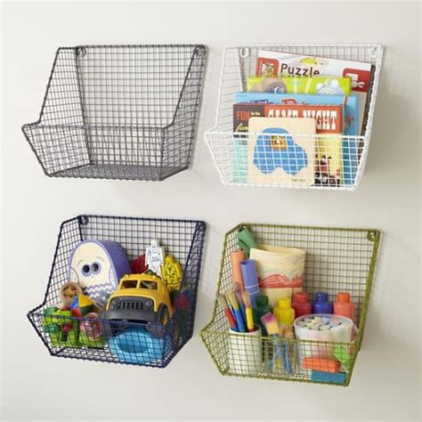 Wall Storage With Baskets Easy Children S Diy Storage Ideas