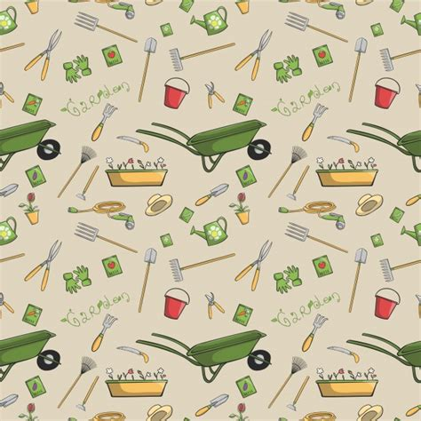 background pattern tool decorative garden tools seamless wallpaper or background