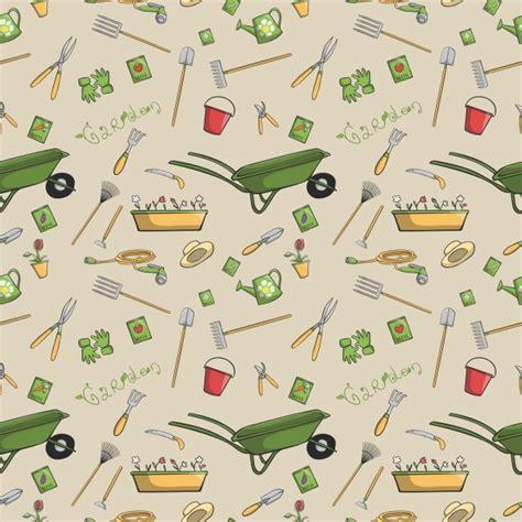 free printable yard art patterns decorative garden tools seamless wallpaper or background