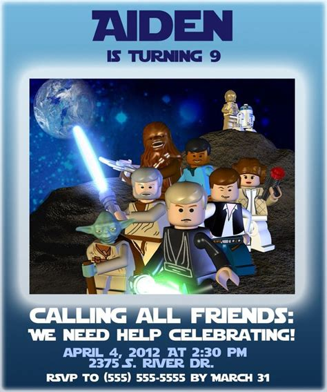 printable lego star wars invitations 46 best star wars party images on pinterest star wars