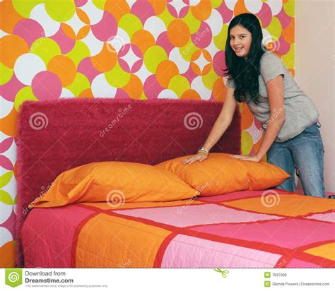 make my bed making my bed stock photo image of pillows young room
